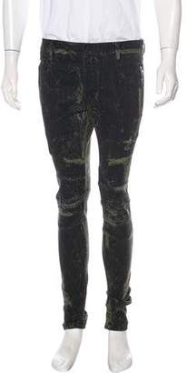 Balmain Printed Skinny Moto Jeans w/ Tags