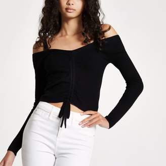 River Island Womens Black ruched front fitted bardot knit top
