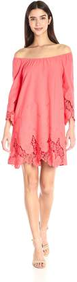 Blu Pepper Women's Off Shoulder Crochet Lace Trim Shift Dress