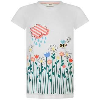 Fendi FendiGirls White Floral Bee Print Top