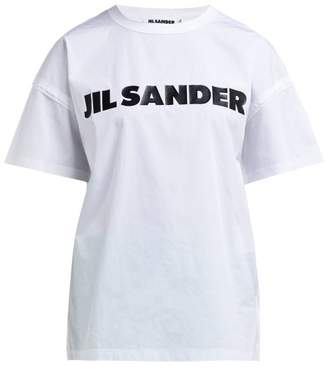 Jil Sander Logo Print Raw Edge Cotton T Shirt - Womens - White