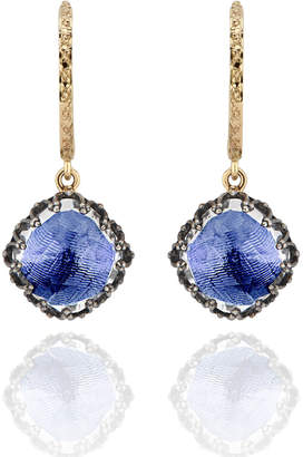 Larkspur & Hawk Lady Antoinette Cushion Drop Huggie Earrings, Cobalt