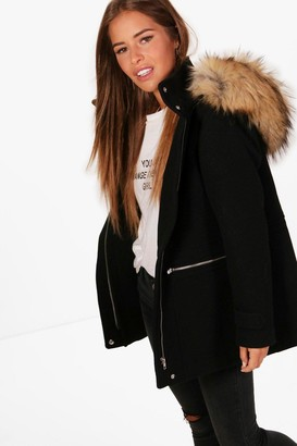 boohoo Petite Wool Fitted Parka