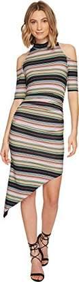 Nicole Miller Women's Festival Stripe Asymmetrical Dress