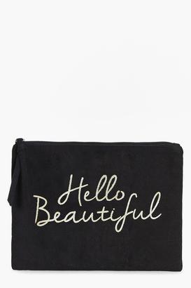 boohoo Hello Beautiful Gold Foil Make Up Bag