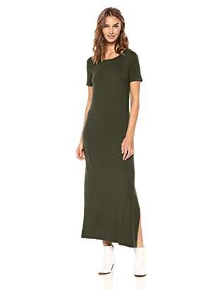 Amazon Brand - Daily Ritual Women's Jersey Crewneck Short Sleeve Maxi Dress with Side Slit