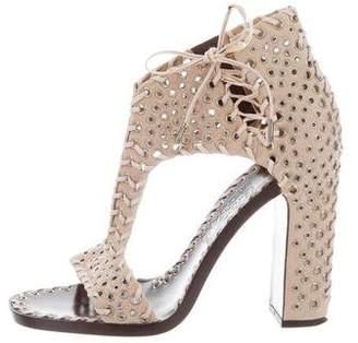 Salvatore Ferragamo Grommet-Embellished Suede Block Heels