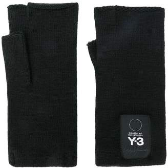 Y-3 fingerless logo gloves