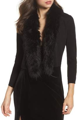 Eliza J Faux Fur Trim Cardigan