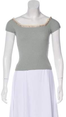Blumarine Rib Knit Short Sleeve Top