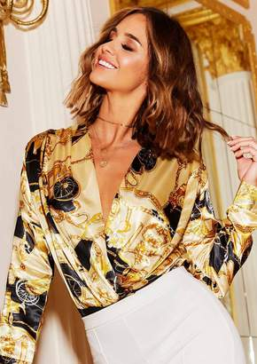 b1123ff44d26f Missy Empire Missyempire Penelope Gold Scarf Print Bodysuit