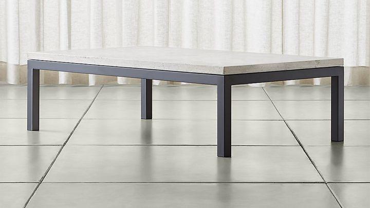 Crate & BarrelParsons Large Rectangular Dark Steel Coffee Table with Travertine Top