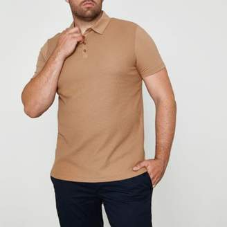 River Island Big and Tall light brown waffle polo shirt