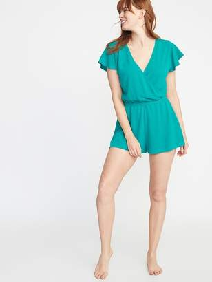 44d486e633792 Old Navy Faux-Wrap French-Terry Swim Romper for Women