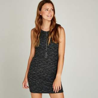 Apricot Black Textured Zip Front Shift Dress