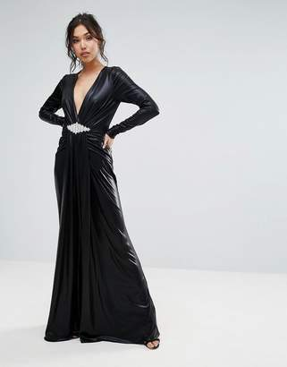Forever Unique Plunge Maxi Dress With Waisted Detail