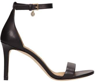 Tory Burch Ellie Black Leather Ankle-strap Sandals