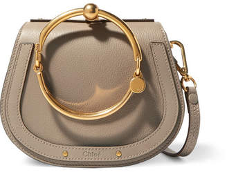 0a3062ca93 Chloé Nile Bracelet Small Textured-leather And Suede Shoulder Bag - Gray