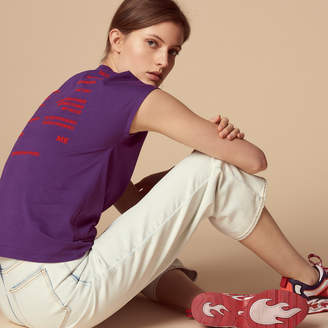 Sandro Cotton T-shirt with flocked lettering