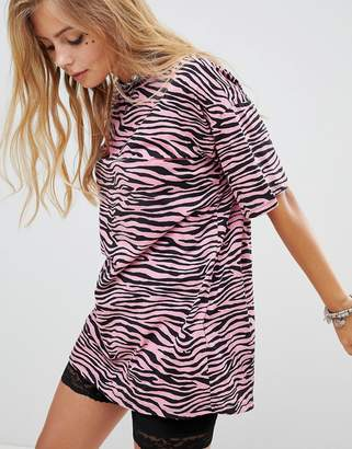 Motel T-Shirt Dress Zebra Print