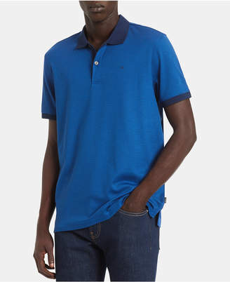 Calvin Klein Men Big & Tall Liquid Touch Regular-Fit Feeder Stripe Polo Shirt