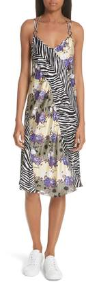 Opening Ceremony Floral & Zebra Print Silk Slipdress