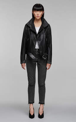 Mackage EMILY moto leather jacket with asymmetrical zip