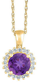 QVC 14K Gold Round Gemstone Halo Pendant w/ Chain