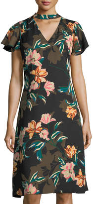 Julia Jordan Choker-Collar Floral-Print Dress