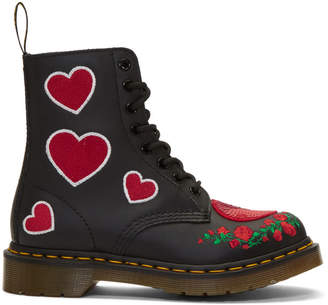 Dr. Martens Black 1460 Pascal Hearts Boots