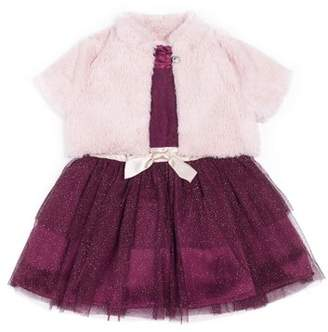 Little Lass Lace Tiered Skirt Special Occasion Holiday Dress with Shrug, 2pc Set (Baby Girls & Toddler Girls)