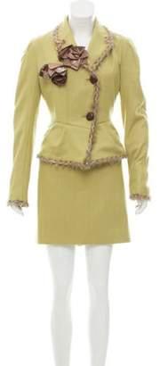 John Galliano Fur-Trimmed Wool Skirt Suit w/ Tags Green Fur-Trimmed Wool Skirt Suit w/ Tags