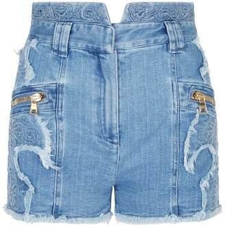 Balmain Embroidered Denim Shorts