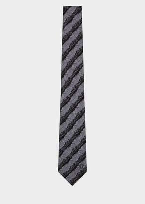 Versace Diagonal Barocco Print Silk Tie