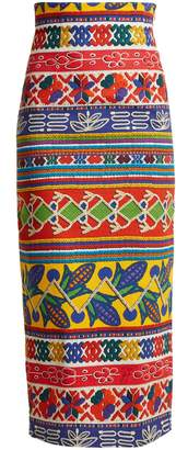 Graphic-print cotton-blend pencil skirt