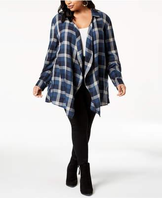 Style&Co. Style & Co Plus Size Cotton Plaid Peplum-Hem Cardigan, Created for Macy's