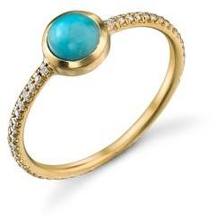 Irene Neuwirth Turquoise Stacking Ring With Diamonds - Yellow Gold