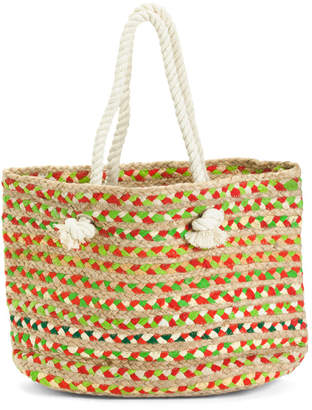 Multi Jute Straw Striped Tote With Rope Handles