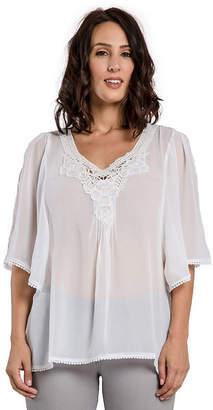 MISS HALLADAY Women White Georgette Woven Tunic Blouses Crochet Neckline Hems