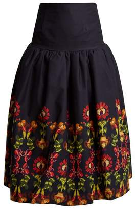Stella Jean Floral Print Gathered Cotton Blend Midi Skirt - Womens - Navy Multi