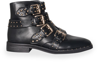 4f1a1742d2 Missy Empire Missyempire Sally Black Studded Buckle Ankle Boots