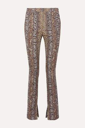 Victoria Beckham Cotton-blend Snake-jacquard Skinny Pants - Snake print