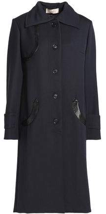 Snake-Effect Leather-Trimmed Wool Coat