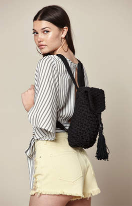 La Hearts Black Crochet Backpack