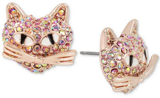 Betsey Johnson Rose Gold-Tone Pink Pave Cat Stud Earrings
