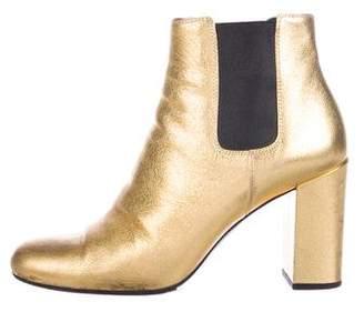 Saint Laurent Metallic Leather Ankle Booties