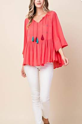 Kori America Boho Embroidered Top