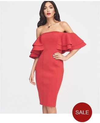 Lavish Alice Exaggerated Double Frill Sleeve Bardot Scuba Midi Dress - Red 97b8a06d8