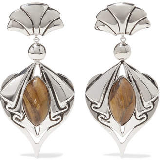 Etro Silver-tone Tiger Eye Clip Earrings