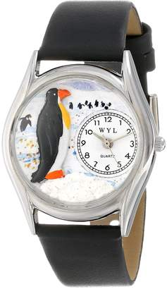 Whimsical Watches Women's S0140010 Penguin Black Leather Watch